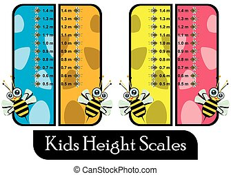Set of Four Similar Colorful Kids Height Scales
