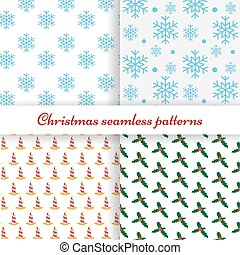 Set of four simple Christmas patterns
