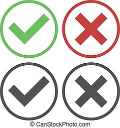 Set of four simple web buttons: green check mark and red ...