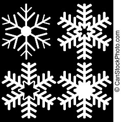 Set of Four Snowflakes Isolated on Black