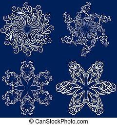 Set of four snowflakes