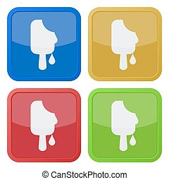 set of four square icons - melting stick ice cream