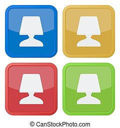 set of four square icons with bedside table lamp