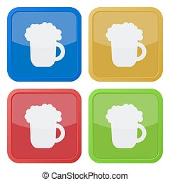 set of four square icons with beer