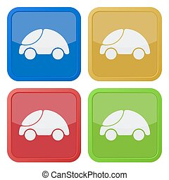 set of four square icons with car