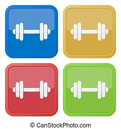 set of four square icons with dumbbell