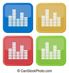 set of four square icons with equalizer