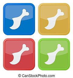set of four square icons with gnawed chicken leg