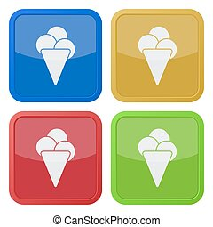 set of four square icons with ice cream