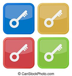 set of four square icons with key