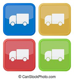 set of four square icons with lorry car