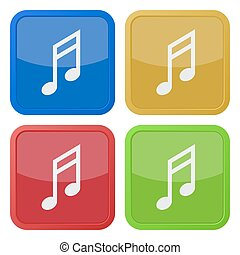 set of four square icons with musical note