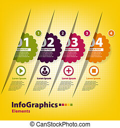 Set of four stickers for infographics