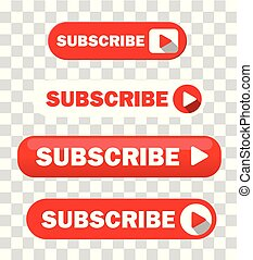 Set of Four Subscribe Buttons Vector
