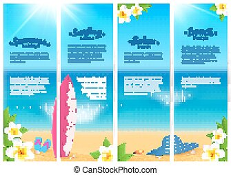 Set of four summer ocean beach vacation banners. Sea travel banners template.