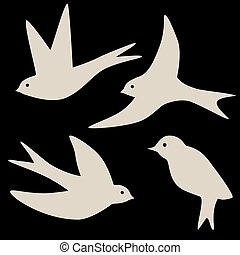 Set of four swallow bird silhouettes