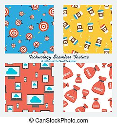 Set of four technology seamless patterns