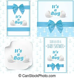Set of four templates for baby boy shower.