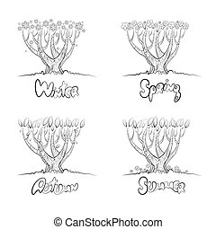 Set of four trees isolated on white background