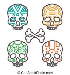 Set of four tribal skulls
