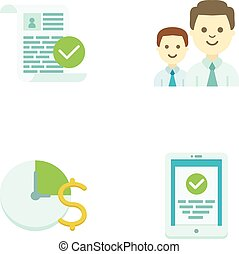 Set of four universal flat icons. Illustrations of blank checking, team work, time is money, mobile device.