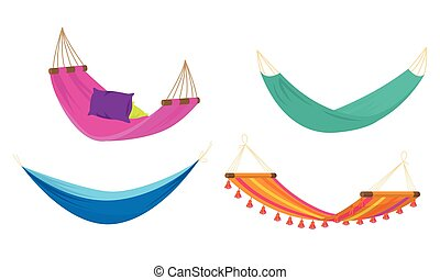 Set of four various colorful rope hammocks. Vector set illustration in flat cartoon style.