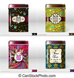 Set of four Vector box with place for your text. Design product package. Tea, coffee, dry products.