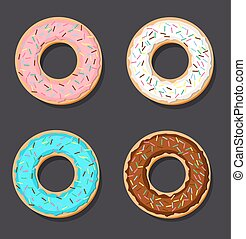 set of four vector donuts