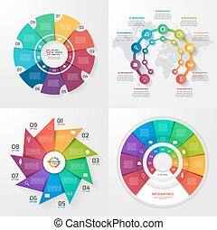 Set of four vector infographic templates. Business, education, industry, science concept with 9 values, options, parts, steps, processes.