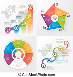 Set of four vector infographic templates. Business, education, industry, science concept with 5 values, options, parts, steps, processes.