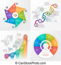 Set of four vector infographic templates. Business, education, industry, science concept with 6 values, options, parts, steps, processes.