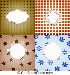 set of four vector lacy napkins on retro seamless  patterns, can be used separately