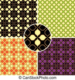 set of four vector retro seamless patterns
