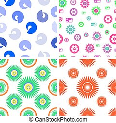 Set of four vector seamless pattern on a white background