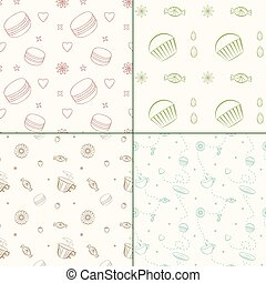 Set of four vector seamless patterns with desserts and sweets