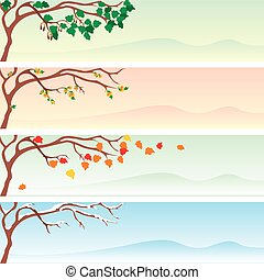 set of four vector seasonal banner