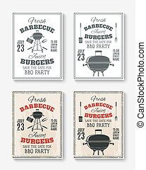 Set of four vintage barbecue party posters.