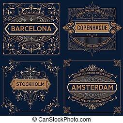 Set of four vintage designs