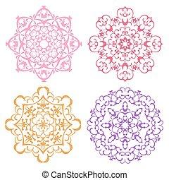 Set of four warm color lacy mandala