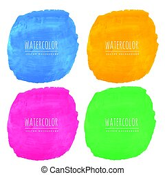 set of four watercolor stain textures