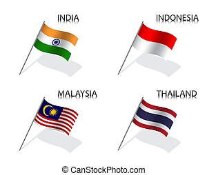 Set of four waving flag of India, Indonesia, Malaysia and Thailand. Simple symbols with flags isolated on a white background