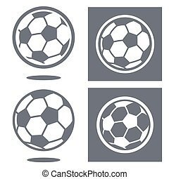 Set of four white and gray soccer ball icons