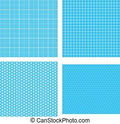 Set of seamless blueprint background set of four white geometric grids on cyan malvernweather Gallery