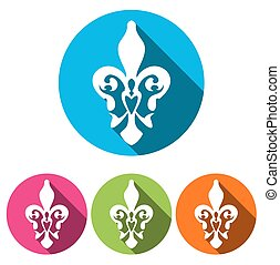 Set of four white silhouettes fleur de lis(french lily)in a circle with long shadow