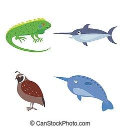Set of Four Wild Animal for Children Flat Design - Vector...