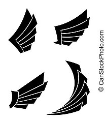 Set of four wings on a white background