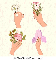 Set of four women hand are hold flowers bouquet with dandelion, lilac iris, rose, berry bunch, leaf branch.