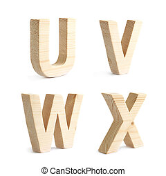 Set of four wooden block characters