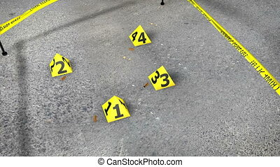 Set of four yellow marker of crime scene with numbers 1, 2,...