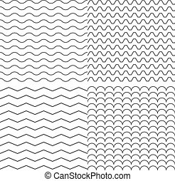 Set of Four Zigzag and Wave Simple Seamless Pattern Vector